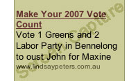 Ad for The Greens candidate in Bennelong on LeefeRatesTheWorld