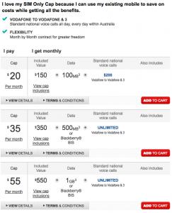Vodafone - SIM Only Cap - plan listing