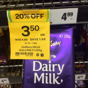 Cadbury Dairy Milk 200g blocks, marked as 220g block on the sale tag