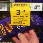 Cadbury Dairy Milk Picnic 200g blocks, marked as 210g block on the sale tag