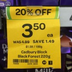 Incorrect Cadbury Black Forest 220g block sale tag