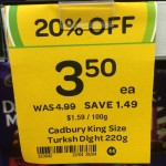 Incorrect Cadbury Turkish Delight 220g block sale tag