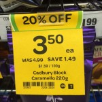 Incorrect Cadbury Caramello 220g block sale tag