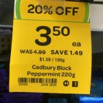 Incorrect Cadbury Peppermint 220g block sale tag