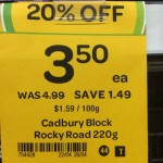 Incorrect Cadbury Rocky Road 220g block sale tag